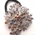 Red Designer Ponytail Holder / Brooch Crystal Stones
