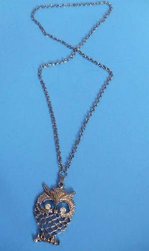 "Antique Silver Owl Necklace 30""  crystal stones"