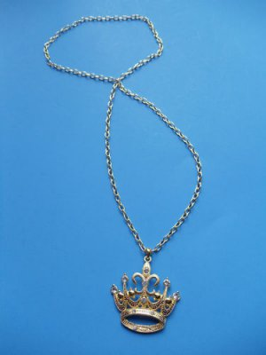 Gold crystal Princess Crown Necklace