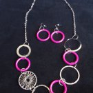 "30"" Silver Pink Circles Necklace and Earrings Set"