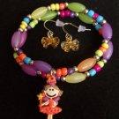 Kids Fairy Princess Charm Bracelet with Bow Earrings Orange