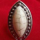 White Marble Stone Cocktail Ring adjustable band silver