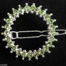 Green Crystal Circle Barrette
