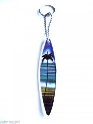 Surfboard Keychain Palm Tree