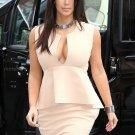 Celebrity Peplum Dress as seen on Kim Kardashian Beige