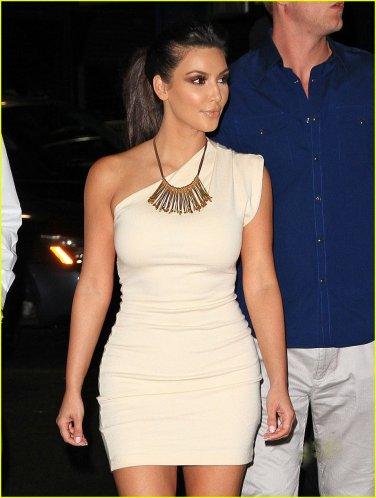 Celebrity One Shoulder Mini Dress as seen on Kim Kardashian Beige