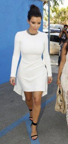 Celebrity Asymmetric White Dress as seen on Kim Kardashian