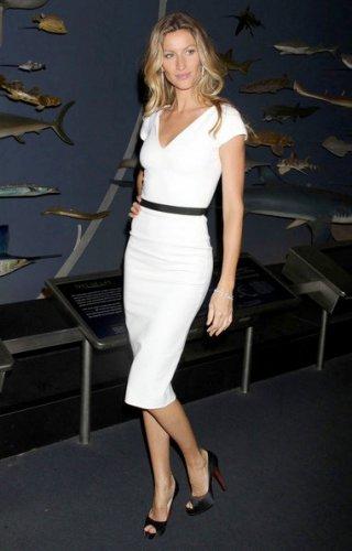 Gisellle Bundchen White V-neck Dress- Made to order