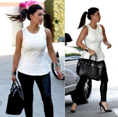 Celebrity Asymmetric White Peplum Top as seen on Kim Kardashian