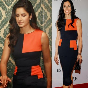 Celebrity style black orange dress inspired beckham style Pencil Party Knee length Dress