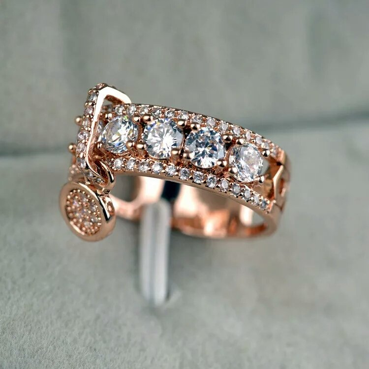 Crystal Zircon Stone Ring Unique Style Fashion Rose Gold Silver Jewelry Vintage Wedding Rings