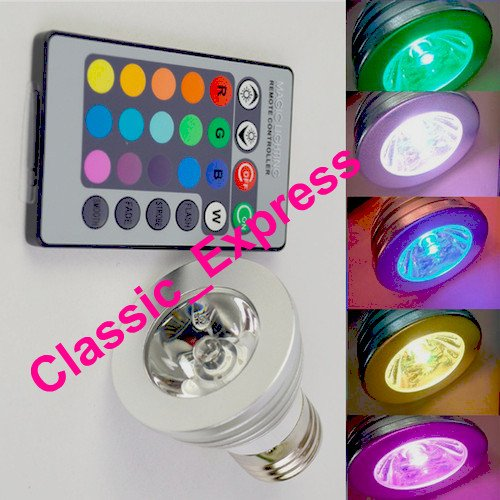 E27, 3W 16 Color Changing RGB LED Light Bulb Lamp 85-265v with remote control