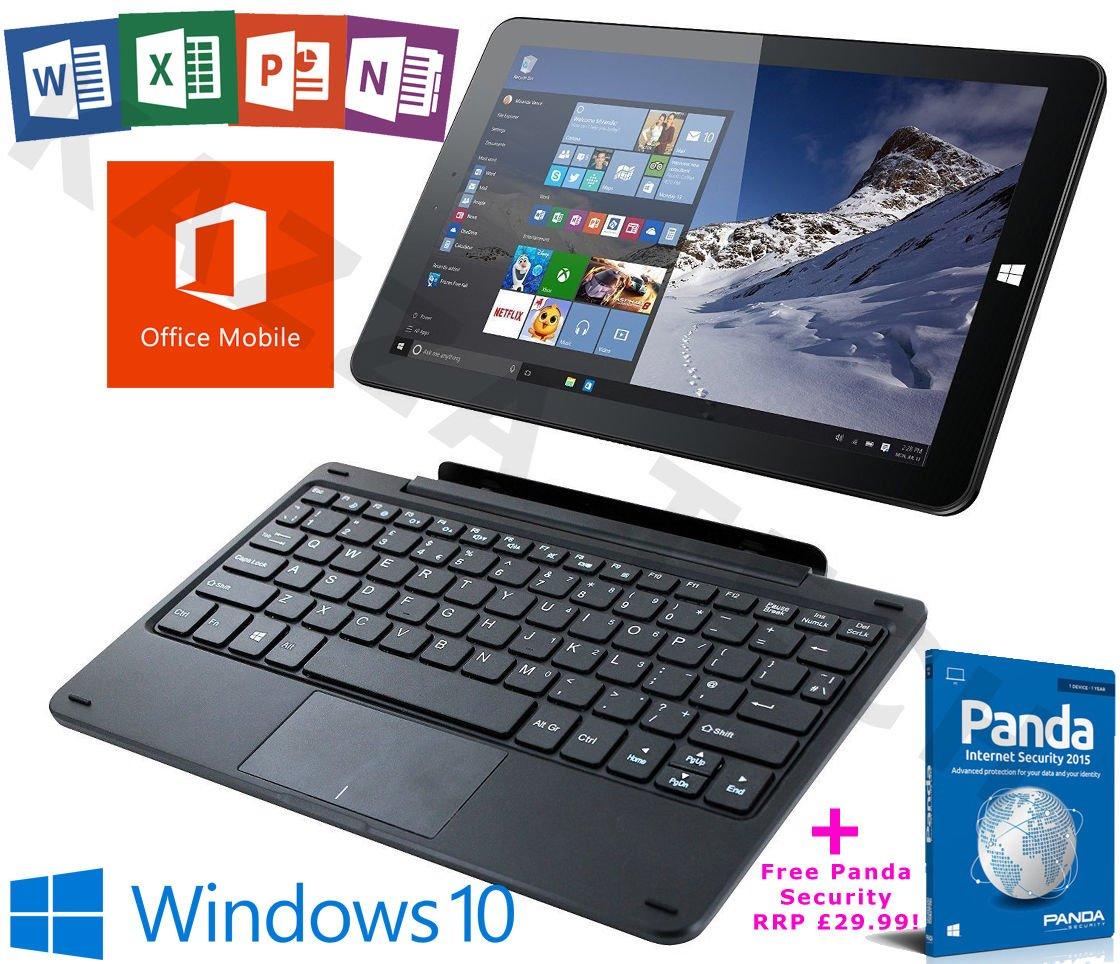 """Linx 1010B Intel Quad Core 32GB 2GB Windows 10 Office 10.1"""" Tablet Keyboard Dock."""