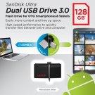Sandisk 128GB Ultra Dual USB 3.0 OTG Micro USB Flash Memory Drive Stick