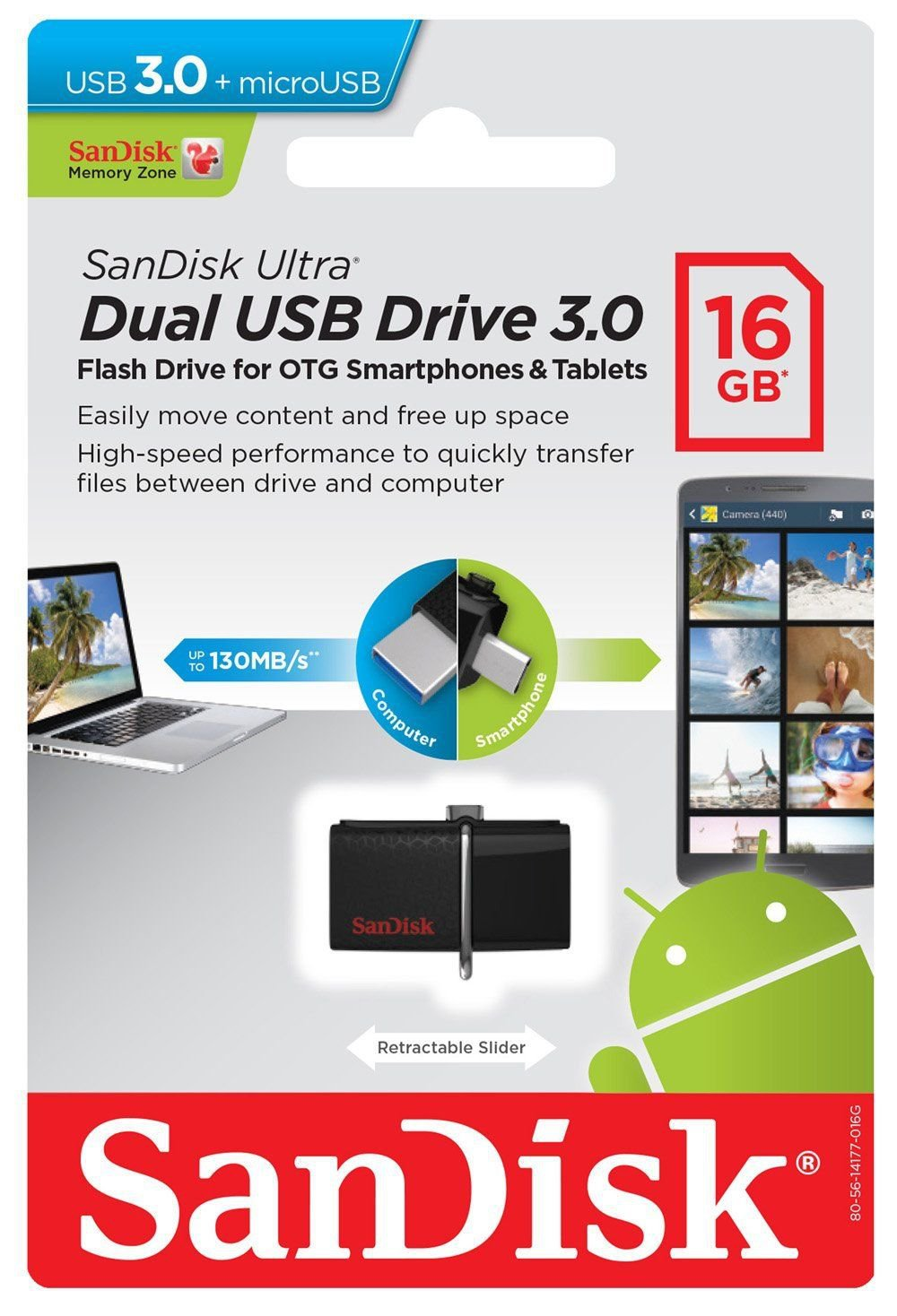 SANDISK  16GB ULTRA DUAL OTG MICRO FLASH DRIVE USB FOR MOBILE TABLET