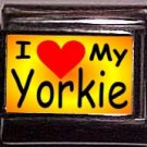 I Love (heart) My Yorkie Custom Italian Photo 9mm charm