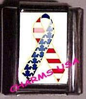 USA Support Ribbon, Custom Italian Charm 9mm