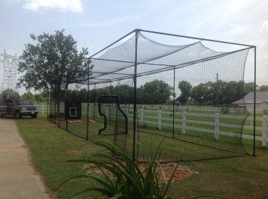 12x14x70 ft. Batting cage frame kit, Nylon net #30 and Net saver Baseball DIY