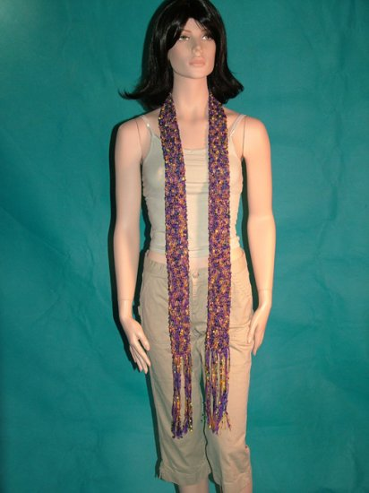 KNC Hand Knit Skinny Scarf with Flower Pin Purple Mix Beauty