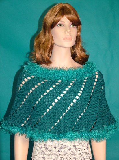 KNC Hand-Crochet Spiral Merino Wool Poncho Turquoise