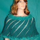 KNC Hand-Crochet Spiral Merino Wool Poncho Turquoise