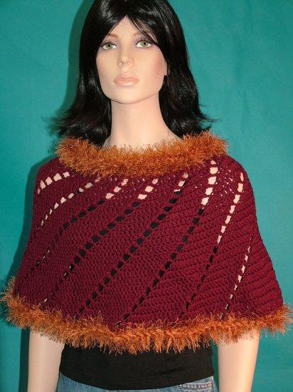 KNC Hand-Crochet Merino Wool Spiral Poncho Burgundy