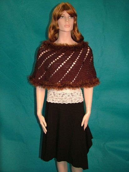 KNC  Hand-Crochet Merino Wool Spiral Poncho Chocolate