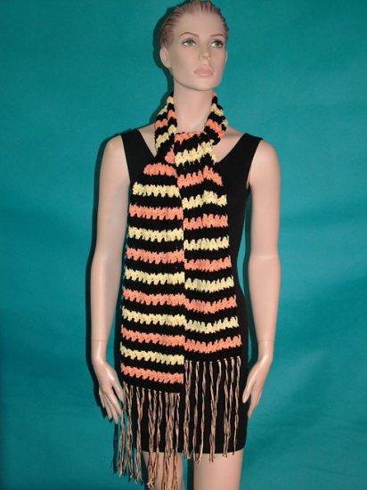KNC Hand Crochet Lacey Bubble Stitch Scarf Black-Tangerine-Maize