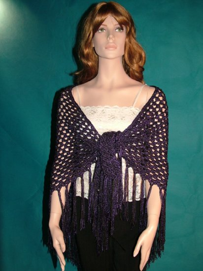 KNC Hand Crochet Shawl Wool & Rayon Mix OOAK