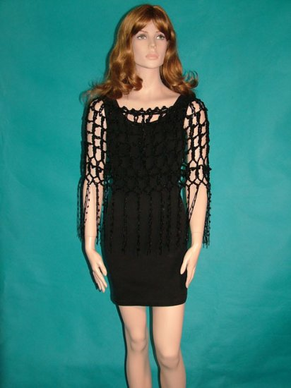 KNC Crochet Evening Elegance Short Poncho Black