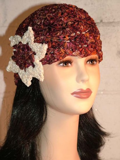 KNC Hand Crochet Ribbon 'n Rose Cloche Copper Penny