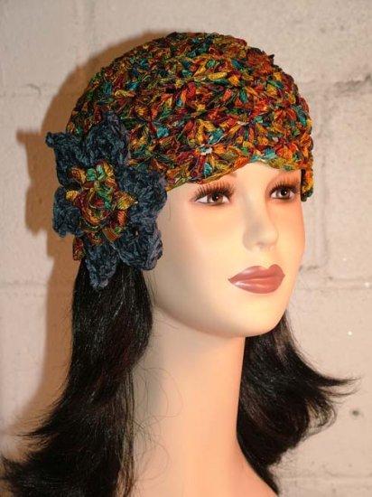 KNC Hand Crochet Ribbon 'n Rose Cloche Autumn Leaves