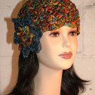 KNC Hand Crochet Ribbon 'n Rose Cloche Autumn Leaves