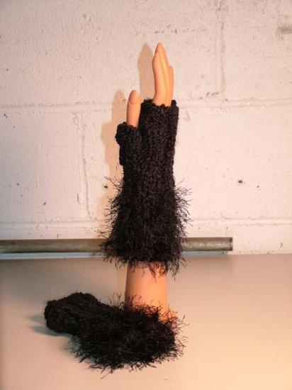 KNC Hand Knit Homespun Fur Wrist Warmers Black