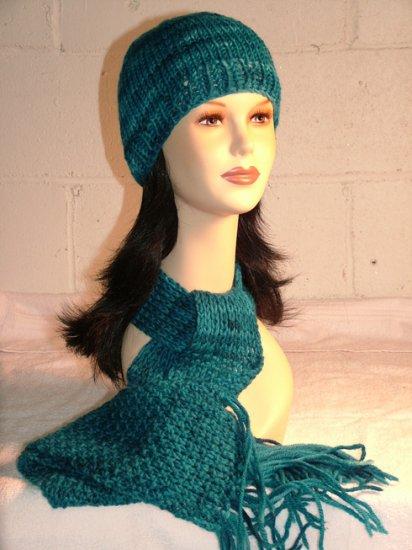 KNC Hand Knit Seaman's Wool Set Teal Blue Shades