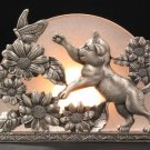 KNC Gorgeous Pewter Glass Cat Tealight Holder