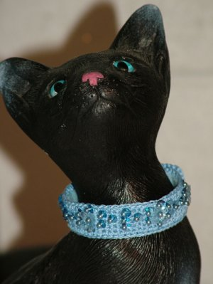 KNC KittyWear Crochet Cat Collar BlueBell