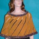 KNC Hand Crochet Short Spiral Poncho Gold