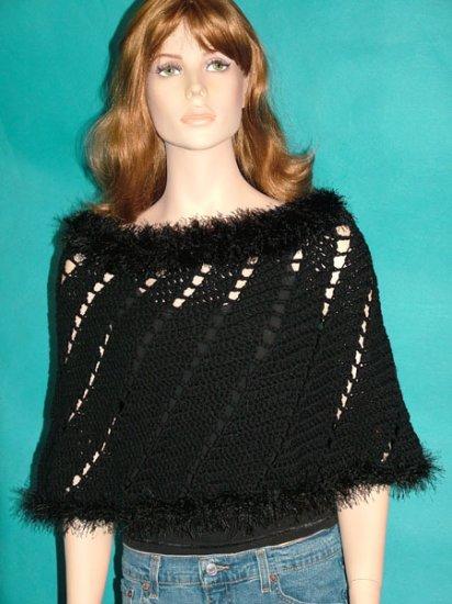 KNC Hand Crochet Short Spiral Poncho Black