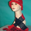 KNC Crochet Cotton Hat-Scarf Set RedNavy