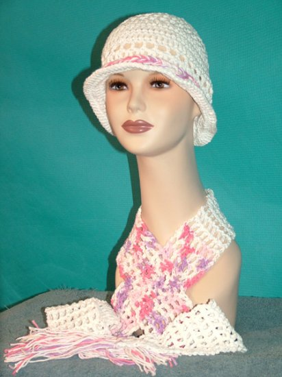 KNC Crochet Cotton Hat-Scarf Set WhitePinkLilac