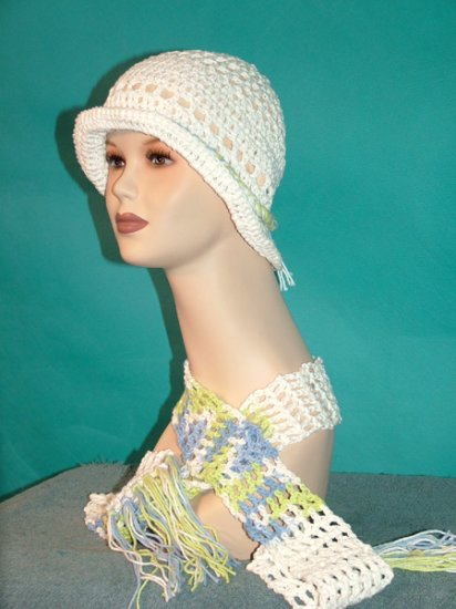 KNC Crochet Cotton Hat-Scarf Set LimeBlue