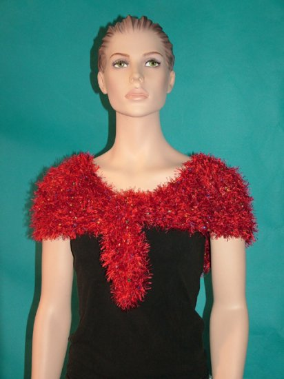 KNC Hand Knit Evening Fur Capelet Red Primary