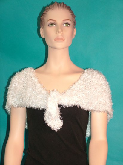 KNC Hand Knit Evening Fur Capelet White