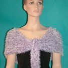 KNC Hand Knit Evening Fur Capelet Lilac Mix