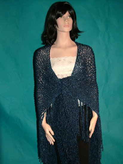 KNC Hand Knit Homespun Shawl Colonial