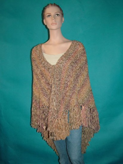 KNC Hand Knit Homespun Shawl Sierra