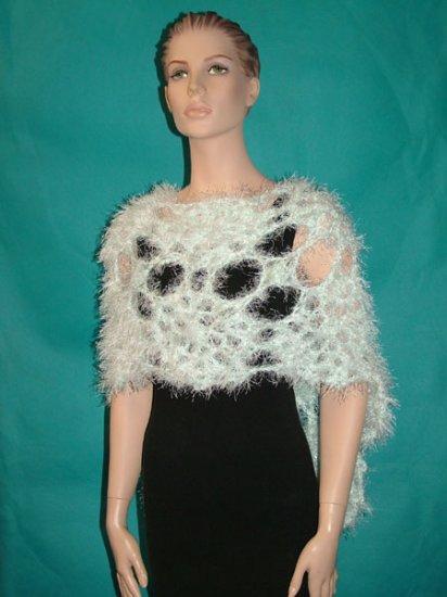 KNC Hand Crochet Elegant Fur Wrap White-Seafoam Sz S-M