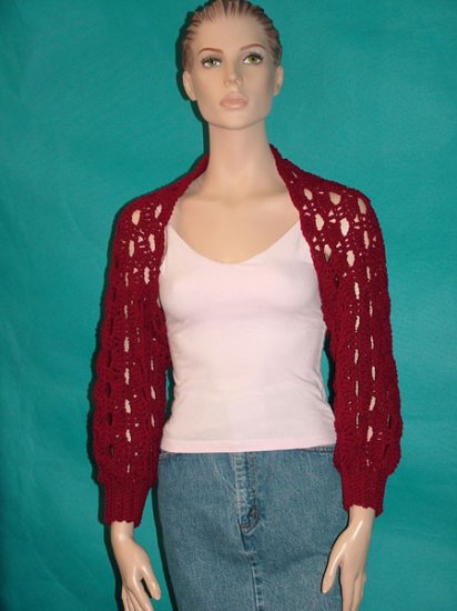 KNC Hand Crochet Shelly Shrug - Cranberry Sz S-M