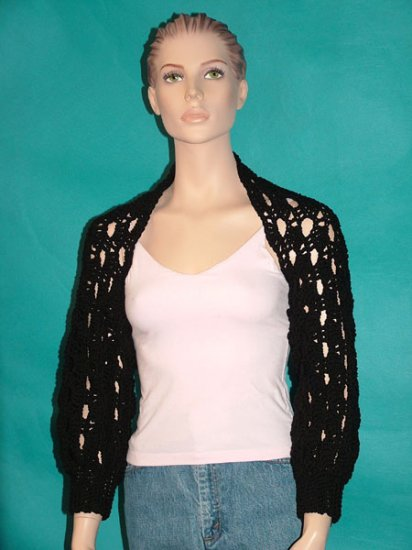 KNC Hand Crochet Shelly Shrug - Black Sz S-M